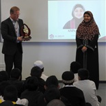 Mr Houghton presenting Amnah Arain (2015 Year 12 VCE Graduate) with the prestigeous DUX Award