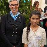 Mariam with the Honourable Linda Dessau AM, Governor of Victoria.