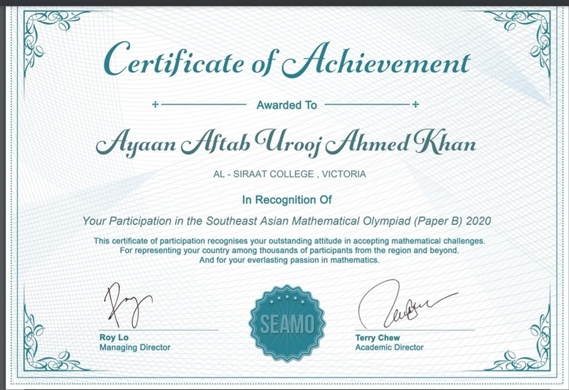 Congratulations to Ayaan Aftab Khan