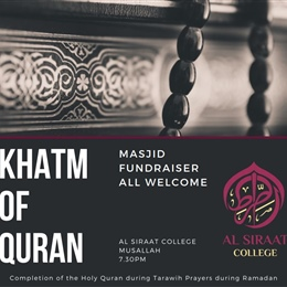 TOMORROW (11 May): Khatm of Qur'an & Launch of Masjid Fundraiser