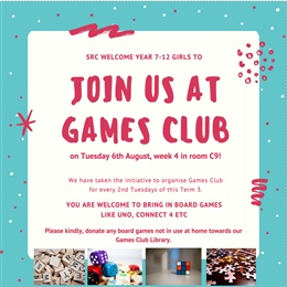 Board Games Club on Tuesdays