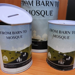 Barn to Mosque Charity Tins Handed Out