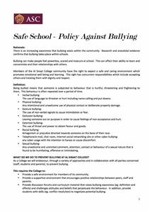 Policy Against Bullying