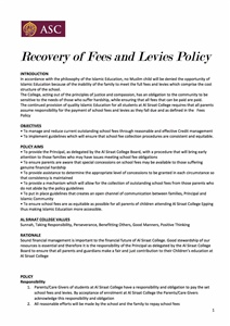 Recovery of Fees Policy