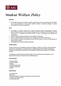 Student Welfare Policy