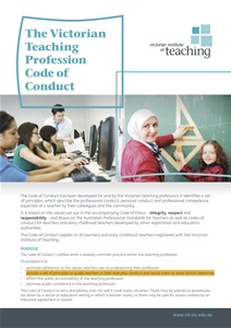 Victorian Institute of Teaching Code of Conduct