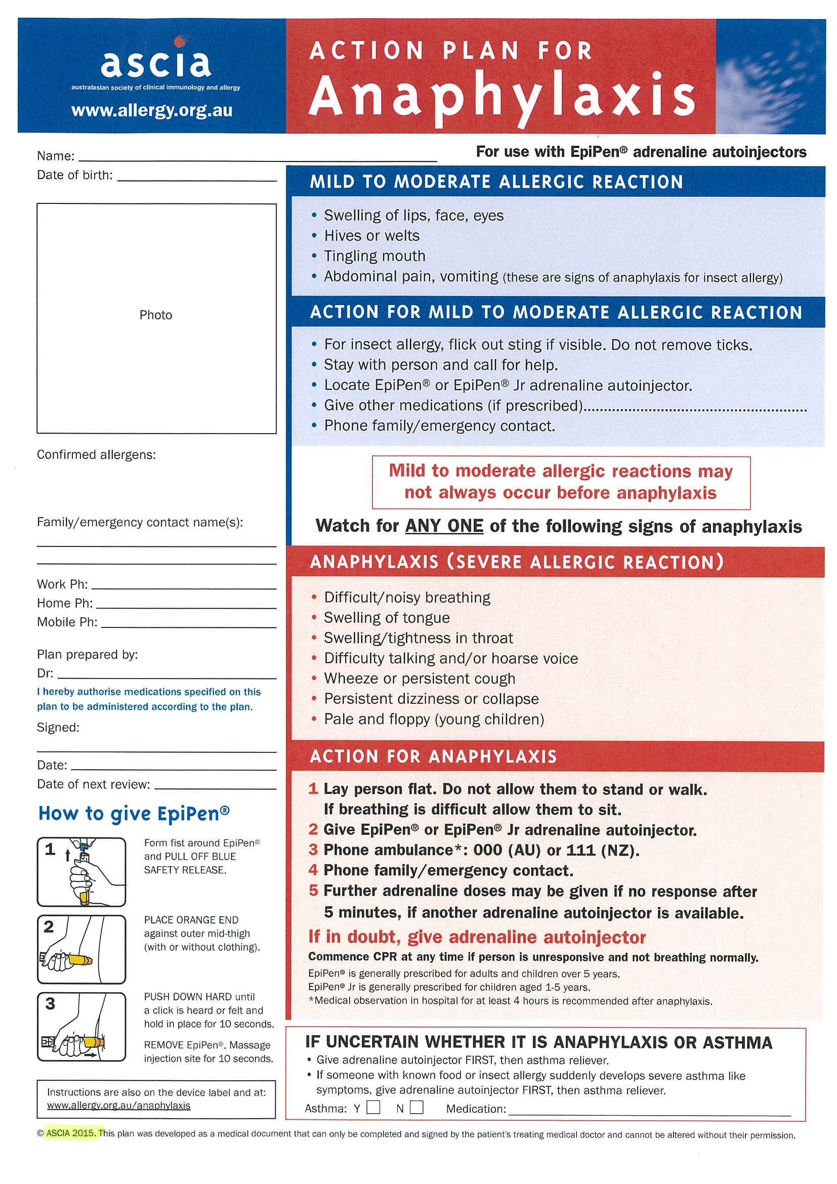 allergy action plan template - allergy action plan template